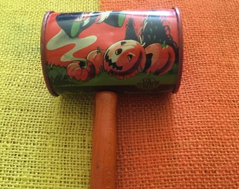 A Very Scary Witch Ghost Owl Bat Jack O Lantern Halloween Noise Maker, Vintage Metal Toy from 1950s