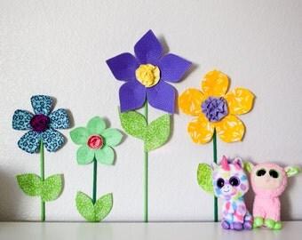 Sale, girls room nursery wall decor, 3d fabric wall flower, floral decor, flower wall hanging, purple fabric flower