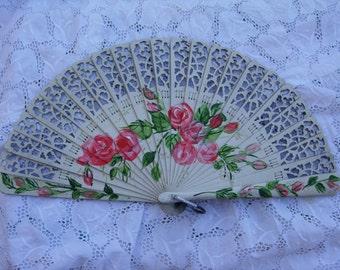 "hand painted  ""BARAJA""  wood spanish fan FREE SHIPPING"