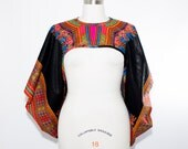 Black Dashiki  African Print Shrug - One Size