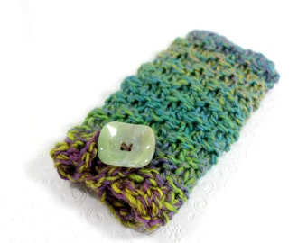 Knit Phone Sleeve Blue Greens, Galaxy S7 Phone Case, Knit IPhone 6 Plus Sleeve, Knit Phone Sock, Fits Galaxy Note, HTC 8X, LG,  Galaxy Edge