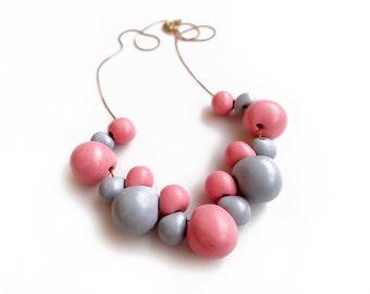 Pink Grey Statement Necklace, Short Polymer Bib Necklace