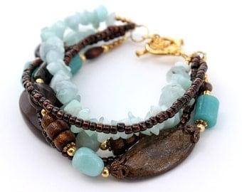 Her Blue and Brown Bracelet, Beaded Bracelet, Chunky Bracelet
