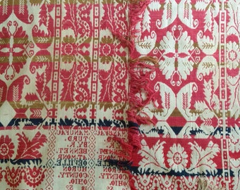 Antique 1852 jacquard wool coverlet / Signed R Bennet Monroeville Huron County OHIO / Double weave and 4 colors