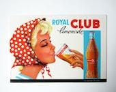 1960s French vintage LEMONADE CARDBOARD ADVERTISING sign⎮Royal Club limonade⎮ woman dots kerchief⎮red blue orange black⎮bar pub bistro decor