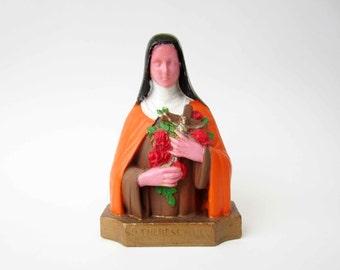 French vintage religious STATUETTE⎮Ste Therese de l'Enfant Jesus⎮painted plaster⎮colorful multicolor⎮roses crucifix⎮christian catholic