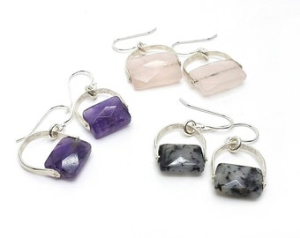 Sterling Silver Gemstone Dangle Earrings // rose quartz, rutilated quartz, amethyst, moonstone, black spinel, labradorite // hammered rivet