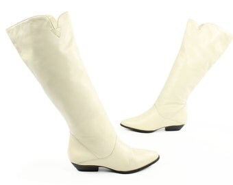 Vintage 80s Ivory Leather Riding Boots Flat Knee High Tall Pointed 1980s Women's Shoes A-Lord 6M Pirate Rocker