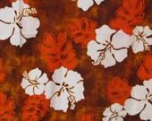 "Vintage 70s  Hawaiian Barkcloth Fabric,  GVH Hawaiiprint, White Hibiscus with Brown and Orange, 44"" x 2 2/3 YDs"