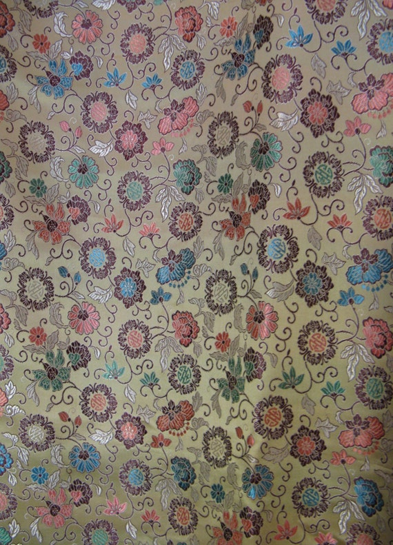 Vintage Chinese Floral Brocade Fabric Light Gold Metallic
