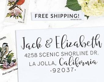 Custom Address Stamp, Return Address Stamp, Wedding address stamp, Calligraphy Address Stamp, Self inking or Eco Mount stamp  - Elizabeth