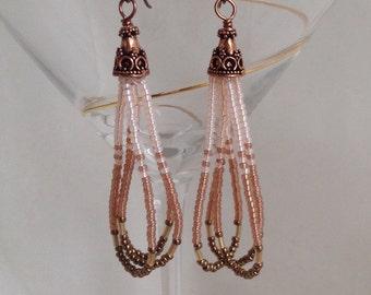 Copper neutral seed bead earrings