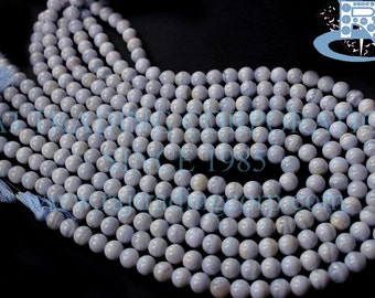 Blue Lace Agate Smooth Round (Quality AA) / 7 to 7.5 mm / 24 to 26 Grms / 36 cm / BLUEL-001