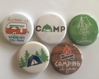 set of 5 camping Mini 1 inch magnets or 1.25 inch button magnets  you choose size