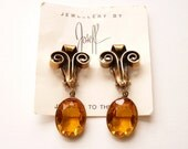 Vintage Joseff of Hollywood Scroll Dangling Drop Earrings with Amber Crystals  2 Inches
