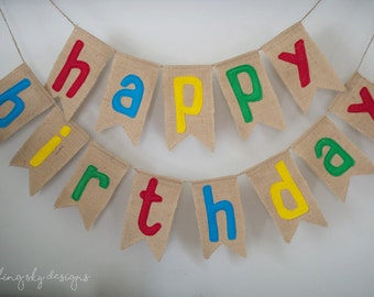 Birthday Banner, Burlap Birthday Banner, Birthday Bunting, Happy Birthday Banner, Happy Birthday Bunting, Birthday Decor, Primary colors