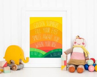 Instant Downloadable Art - Golden Slumbers Rainbow Nursery Art Print - Wall Art - The Beatles - Childrens Room Decor - 8x10 - Art Print