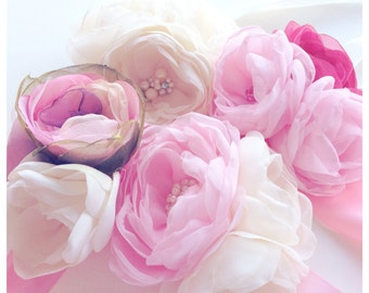 Romantic  Bridal  satinband Chiffon  Belt Flower Sash for Wedding, bridalbelt