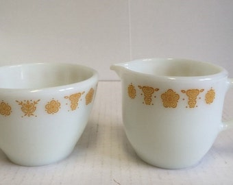 Pyrex Butterfly Gold Creamer and Sugar Pyrex Corning Butterfly Gold Mid Century Modern Retro Vintage