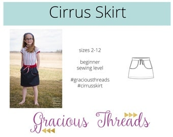 Cirrus Skirt pdf sewing pattern 2T-12