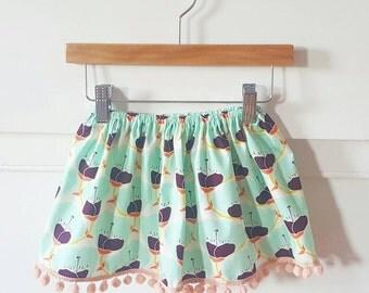 Mint & Floral Skirt// Baby and Toddler Skirt// Pom Pom Trim// Poppy Skirt