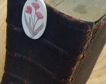 Scrimshaw Bookmark Lovely Maroon Flowers OOAK Great Gift Idea