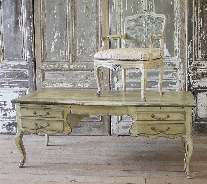 Antique Painted French Country Desk and Chair