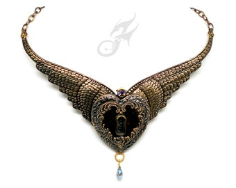 WINGED HEART Necklace Cold Connected Padlock Lock Keyhole Fetish Brass Collar Necklace Swarovski Starlight Rhinestone N0649 by Robin Delargy