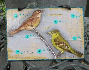 Sassy bird collage, 2D tiny art, glittery home decor