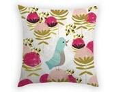 Throw Pillow - Waratah - Bird Pillow - Linen Pillow - 17 x 17 Inch