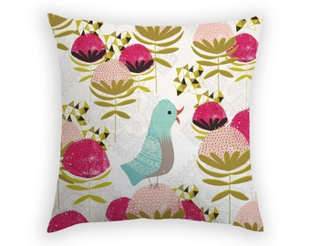 Throw Pillow Waratah Bird Pillow Linen Pillow 17 x 17 Inch Triangle Pink Green Aqua Charcoal Australian Flowers Bird Cushion Handmade