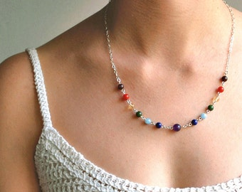 Chakra Necklace, Meditation Necklace, 7 Chakra Jewelry, Yoga Gift in Gemstones & Sterling Silver