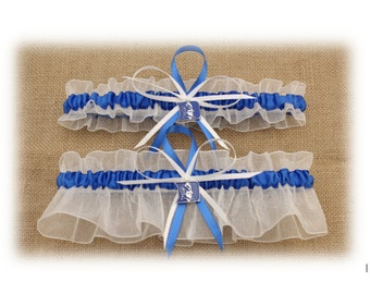 Wedding Garter Set with Duke University Themed Colors and Charms, Bridal Garter, Prom Garter  (Your Choice, Single or Set)