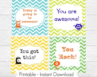 PRINTABLE Lunchbox notes for Boys - INSTANT DOWNLOAD