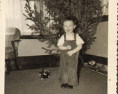 Darling Little Boy Poses beside Tree with His Toy Puppy Dog Vintage Photo  K16903