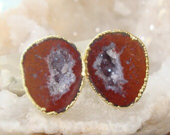 The Chocolate Cream, Geode Halves Gold Ear Stud, Natural Mexican Tobasco Agate Half Geode Earrings, M34