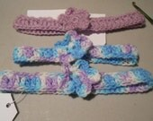 Crocheted pastel pink blue and white head bands with flowers for girls//hair accessory//headbands//flowers