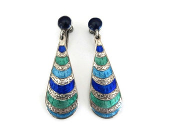 Siam Sterling Blue Green Enamel Earrings -Sterling Silver, Sterling Earrings, Siam Earrings, Dangle Drop, Vintage Earrings, Vintage Jewelry