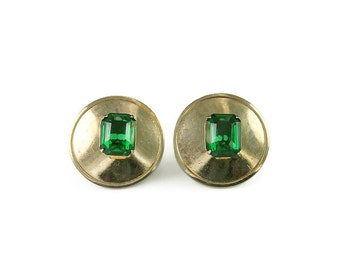 Marino Earrings, Emerald Green, Rhinestone Jewelry, Gold Tone, Round, Retro Mod, Vintage Jewellery