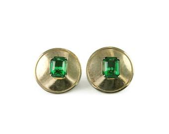 Marino Emerald Green Rhinestone Earrings - Gold Tone, Round, Retro Mod, Vintage Earrings, Vintage Jewelry