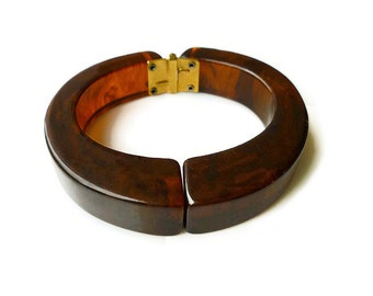 Tortoise Bakelite, Bangle Bracelet, Hinged Clamper Bracelet, Brown Bakelite, Root Beer, Vintage Jewelry
