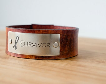 Survivor Awareness Ribbon Custom Leather Cuff - Cancer