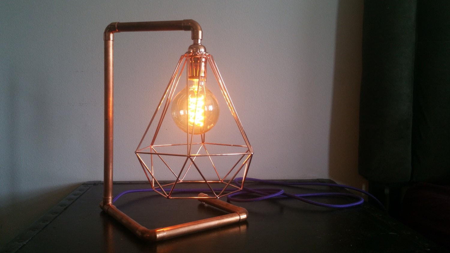 Copper Pipe Industrial Table Lamp Vintage Lamp By