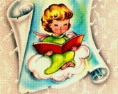 Vintage Christmas Card Pretty Little Angel Caroler Songbook