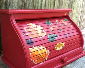 Bread Box red with fall leaves blowing in wind warm autumn colors can be customized to match your kitchen