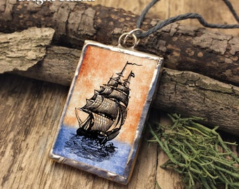 A Ship in the Harbor: soldered glass pendant