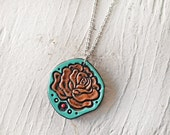 Rose Leather Necklace - Turquoise and Chocolate Handmade Leather Pendant - Rustic Floral jewelry - Romantic Anniversary Gift - Ready to Ship