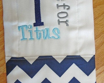 Navy Chevron Personalized Monogrammed Baby Burp Cloth - Perfect for a Baby Shower