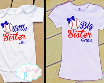Big Sister Little Sister Baseball Outfit - Bodysuit or Tshirt - May be changed to Softball