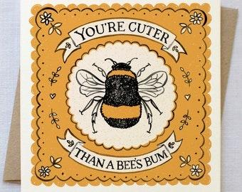 Cute Bee Card | Valentines Card | Valentine Card | Anniversary Card | Love Card
